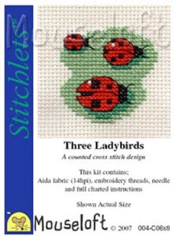 Mouseloft Stitchlets Three Ladybirds